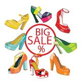 Colorful fashion womens High heel shoes. Stock Photography