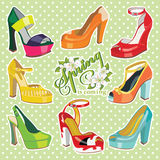 Colorful fashion womens High heel shoes.Spring Stock Photography