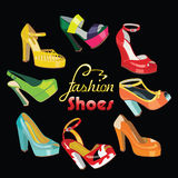 Colorful fashion womens High heel shoes.Vector Fas Royalty Free Stock Photo