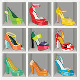 Colorful fashion womens High heel shoes in the war Stock Photography