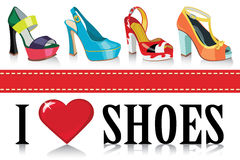 Colorful fashion womens shoes.Fashion Stock Photography