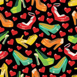 Colorful fashion womens shoes and hearts in seamle Royalty Free Stock Photo