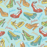 Colorful fashion womens shoes in seamless pattern. Royalty Free Stock Image