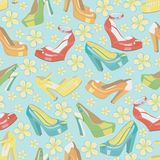 Colorful fashion womens shoes and spring flowers.S Stock Photo