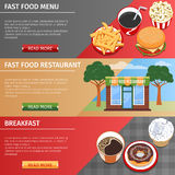 Colorful Fast Food Banners Set Stock Images