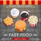 Colorful Fast Food Menu Poster Stock Images