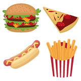 Colorful fast food set Stock Photography