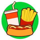Colorful fast food on tray. Hot dog, french fries, soda vector illustration isolated on background Vector Illustration