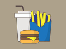 Colorful fastfood icons, vector illustration Stock Photos