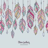Colorful feather background in bohemian style. Seamless border with ethnic feathers and crystals. Colorful feather background in bohemian style. Vector card royalty free illustration