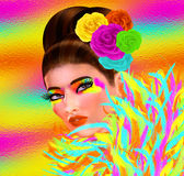 Colorful feathers adorns this fashion and beauty illustration of a pretty woman. Fashion and beauty image of a woman in a colorful outfit with matching Stock Photography