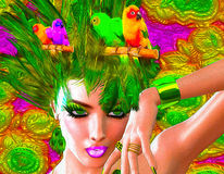 Colorful feathers, birds and floral patterns with a beautiful woman's face. Colorful feathers, birds and floral patterns with a beautiful woman's face create royalty free stock image