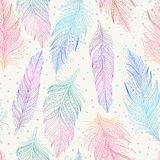 Colorful feathers pattern. Pink, blue, green and violet feathers on white background seamless pattern, hand drawn art, boho style, vector illustration stock illustration