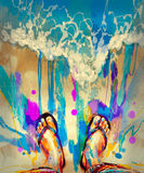 Colorful feet on beach. Painting of colorful feet with flip-flops on sandy beach Stock Photography