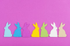 Colorful felt Easter bunnies Royalty Free Stock Photography