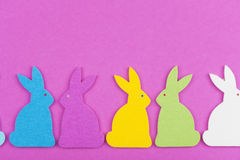 Colorful felt Easter bunnies Stock Image