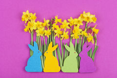 Colorful felt Easter bunnies in front of daffodils Stock Photo