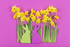 Colorful felt Easter bunnies in front of daffodils Stock Photos