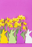 Colorful felt Easter bunnies in front of daffodils Royalty Free Stock Photography