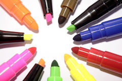Colorful felt markers Stock Photo