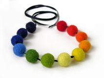 Colorful felt necklace Royalty Free Stock Photo