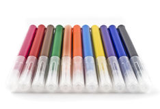 Colorful felt-tip markers (pen) over white Royalty Free Stock Photography