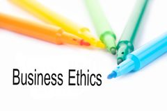 Colorful felt-tip pen and Business Ethics word on white background royalty free stock photo