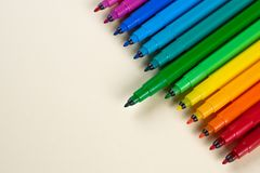 Felt-tip pens on a table royalty free stock photography