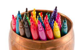 Colorful felt-tip pens copper bowl without caps Stock Image