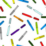 Colorful felt-tip pens  pattern. Seamless texture with pencil. Royalty Free Stock Image