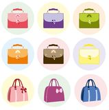 Colorful Female Bag Handbag. Bags collection. Set of women's handbags in Retro style Royalty Free Stock Photos
