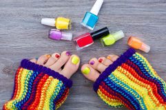 Colorful female pedicure Stock Photography