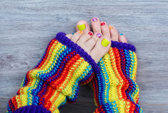 Colorful female pedicure Stock Image