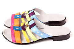 Colorful female sandals isolated on white background Stock Images