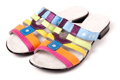 Colorful female sandals  on white background Stock Photography