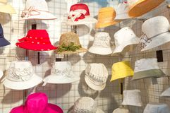 Colorful female summer hats Royalty Free Stock Images