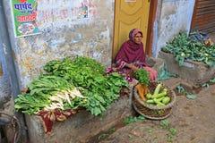 Colorful Female Vegetable Vendor, India. Female vegetable vendor sells her colorful produce on the street in Varanasi, India Stock Image