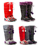Colorful female winter boots stock photo