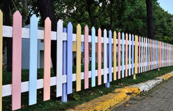 Colorful fence,many colors of the wood Royalty Free Stock Photography