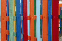 Colorful fence texture. Close up. Simple vertical rhythm Royalty Free Stock Photo