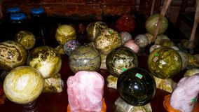 These colorful stone feng shui balls stock images