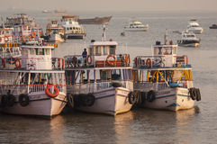Colorful ferries near the Gateway to India Royalty Free Stock Photography