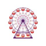 Colorful ferris wheel, amusement park element in flat style isolated on white background. Family entertainment, merry-go. Round, funfair carnival vector Stock Photos