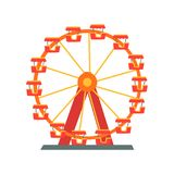 Colorful ferris wheel from amusement park. Entertainment element for family fun. Attraction symbol. Flat vector design. Colorful ferris wheel from amusement park Stock Images