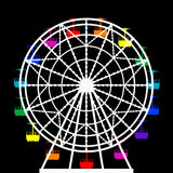 Colorful ferris wheel from an amusement park. Illustration of a colorful ferris wheel from an amusement park Royalty Free Stock Photos