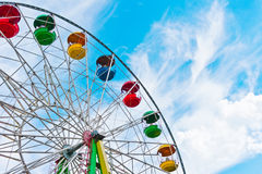 Colorful ferris wheel on blue sky background. Moscow, Russia, East Europe royalty free stock image