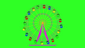 Colorful ferris wheel at a breakneck cabins on a green screen  background. stock video footage