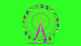 Colorful ferris wheel on a green screen  background. stock footage
