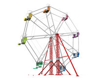 Colorful Ferris Wheel. Isolated on white background. 3D render Stock Photos
