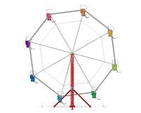 Colorful Ferris Wheel. Isolated on white background. 3D render Royalty Free Stock Photography